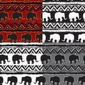 Set of Ethnic  tribal   Seamless Pattern with elephants — Stock Photo