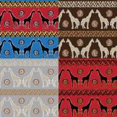 Set of Ethnic  tribal   Seamless Pattern with giraffe — Stock Photo