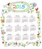 Kids Color Doodles Calendar 2015 — Stock Photo