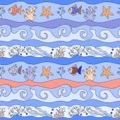 Undersea seamless childish pattern — Stock Photo