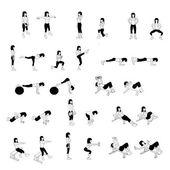 Set di esercizi di fitness — Foto Stock