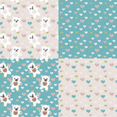 Baby bears  seamless pastel patterns set — Stock Photo