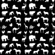 Seamless animals  silhouettes monochrome pattern — Stock Photo #68249575