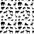 Seamless animals  silhouettes monochrome pattern — Stock Photo #68249597