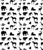 Seamless animals  silhouettes monochrome pattern — Stock Photo