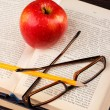 Red apple and book — Stock Photo #71416933