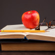 Red apple and book — Stock Photo #71417033