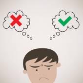 Businessman Thinking True or False Symbols — Stock Vector