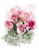Watercolor Image Of  Roses — Stock Photo