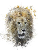 Watercolor Image Of Lion Head — Stock Photo