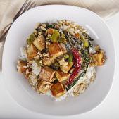 Tofu com arroz e brócolis chinês — Fotografia Stock