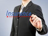 Businessman hand drawing line insurance — Stock Photo