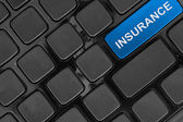 Keyboard close up,top view, insurance  word — Foto Stock