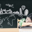 Asian woman dreaming and thinking travel holidays on blackboard — Stock Photo #55937033