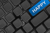 Keyboard close up,top view, happy word — Stock Photo
