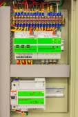 Electrical panel line, controls and switches, safety concept — Stock Photo