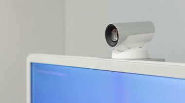 Teleconference, video conference or telepresence camera closeup for business meeting room, HD — Stock Video