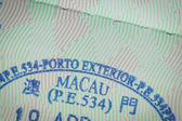 Admitted stamp of macau Visa for immigration travel concept — Stock Photo