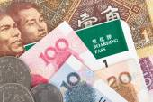 Chinese or Yuan banknotes money and coins from China's currency, — Stock Photo