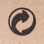 Recycling green dot symbol fragile on cardboard box — Photo #66241779