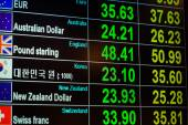 Currency exchange on digital LED blackboard, can use as backgrou — Stock Photo