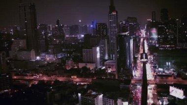BANGKOK THAILAND - APRIL 11: Business Transportation Road in Building Bangkok city area, high angle shot in HD, Sathorn District BANGKOK, Thailand on April 11, 2015 — Stock Video