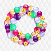 Christmas wreath with balls — Vector de stock