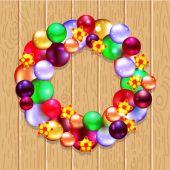 Topları ile Noel çelenk — Stok Vektör