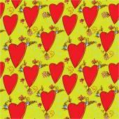 心と花のパターン — ストックベクタ