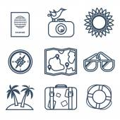 Icons of travel, summer in the flat line style — Stockvektor