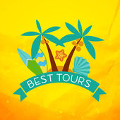 Banner with the inscription best tours, palm trees, shells and surfboard at sunset. — Wektor stockowy