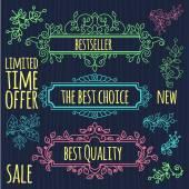 Floral design elements vintage dividers in black color.  — Stock Vector