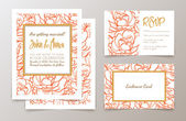 Set  weddings  invitation — Vecteur