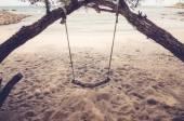 Swing on beach vintage — Stock Photo