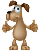 Dog cartoon giving thumbs up — Stock Vector