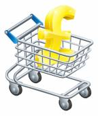 Pound currency shopping cart — Stock Vector