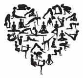 Yoga heart — Stock Vector