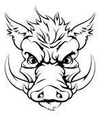 Cabeza de la mascota de jabalí deportes — Vector de stock