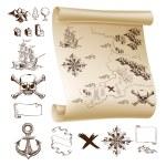 Treasure map kit — Stock Vector #80601716