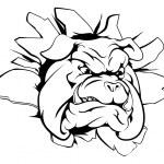 Bulldog mascot breaking through wall — Stock Vector #83009128