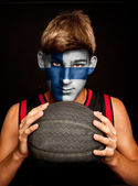 Basketball player with finish flag — Stock Photo