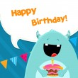Monster With Birthday Cake — Stock Vector #74217615