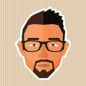 Caucasian guy face in polygonal style - illustration — Vetorial Stock