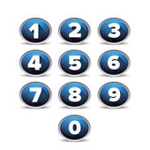 Number set vector blue — Stock Vector