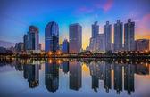 Bangkok city downtown at sunrise — Stock Photo