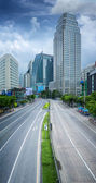 Bangkok city day time with main traffic high way — Stock Photo
