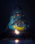 Worker work hard with welding process — Stock Photo