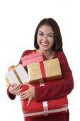 Asia lady hold gift box — Stock Photo