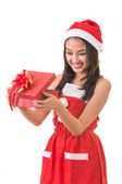 Piękna kobieta Asia nosić strój Śnięty Mikołaj — Zdjęcie stockowe