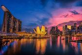 Fish-eye view of Singapore city skylin — Stock Photo